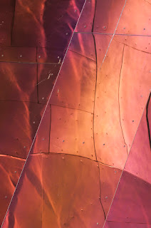 frank, gehry, frank gehry, abstract, architecture, design, photography, architectural, tim macauley, timothy macauley, I now know what it's like to live in a jukebox, photograph, detail, building, abstraction, USA, united states, stainless steel, steel, plates, plastic, polymer,  shell, post modern, graphic, Experience Music Project, EMP, Seattle, WA, Washington, icecream, Neapolitan, box of chocolates, graphic, abstraction, detail, postmodern, structure, façade, building