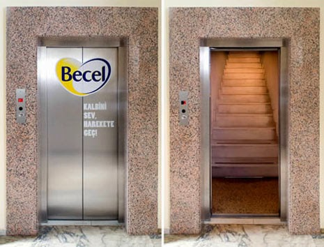 creative advertising in elevators, becel