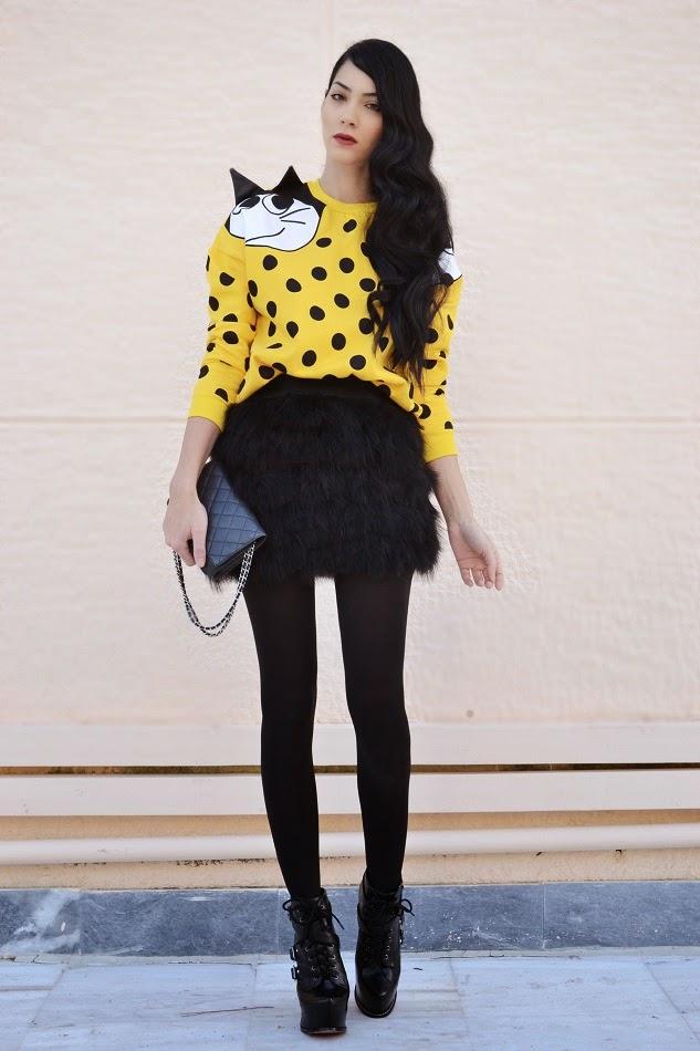 moda feminina-site de moda feminina-dicas de moda feminina-canal moda feminina-blogs de moda feminina-roupas divertidas-fun-fashion-blog-jeito-simples-de-ser-blog-mineiro-de-moda-fun-fashion-gato-felíx-look-amarelo-preto-moletom-fun fashion
