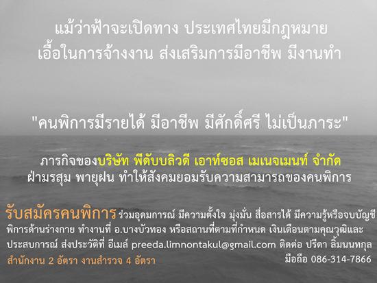 บริษัท PWDOM จำกัด รับสมัครคนพิการจำนวน 6 คน (สนง. 2 คน, สำรวจ 4 คน)