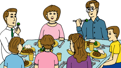 All family members eating together on dinning table in happy environment