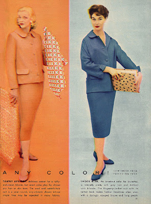 1950s fashion in orange and blue