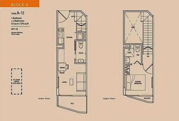 Guillemard Suites 1 bedroom floor plan