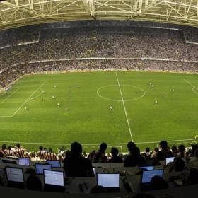 View from top seats of Mestalla Stadium