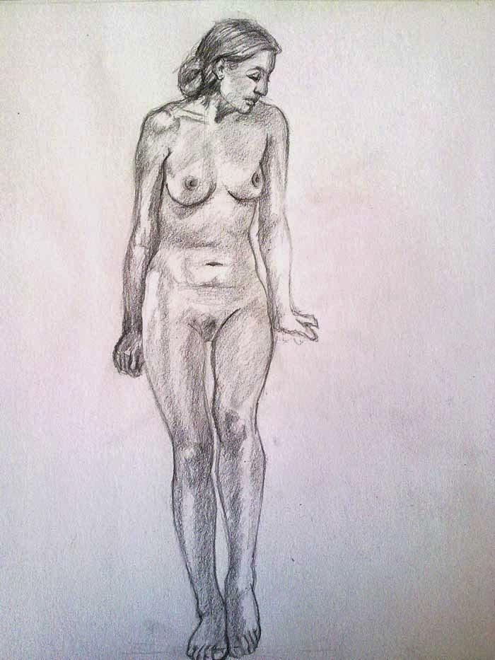 dibujo con lapiz de un desnudo de pie