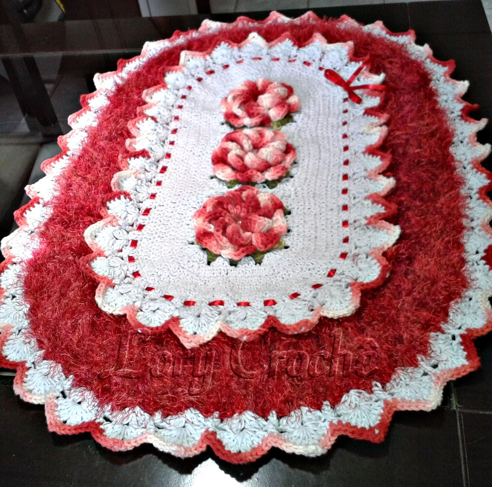 Tapete Rosa Franzida Com Miolo : Lory Croch?: Tapetes Decore Vermelho