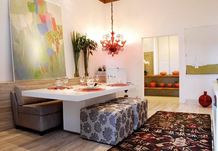 Sala De Jantar Resina Branca ~  Arte  Decoração Mesa Chanfrada Simetria de sala de jantar  TFA