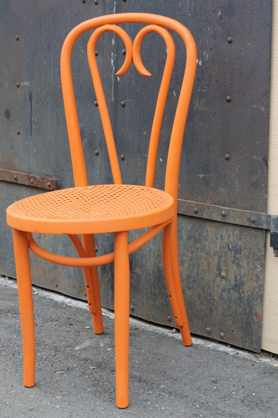Orange Bentwood Cafe Chair With Caned Seat