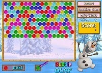 This is another funny game of Frozen: The Snow Queen. Amuse yourself with this classic bubble game. This time Olaf need your help to make groups of three or more bubbles of the same color in order to destroy them and gain points.
