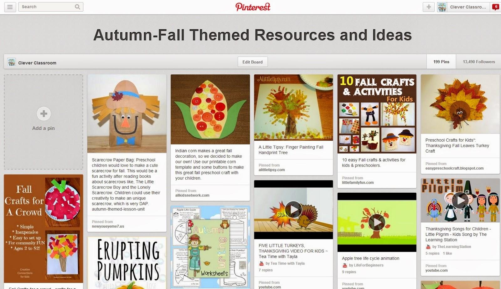 Fall Pinterest board Clever Classroom