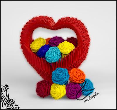 Jak zrobić koszyk w kształcie serca origami modułowe – diagram