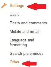 settings on blogger dashboard