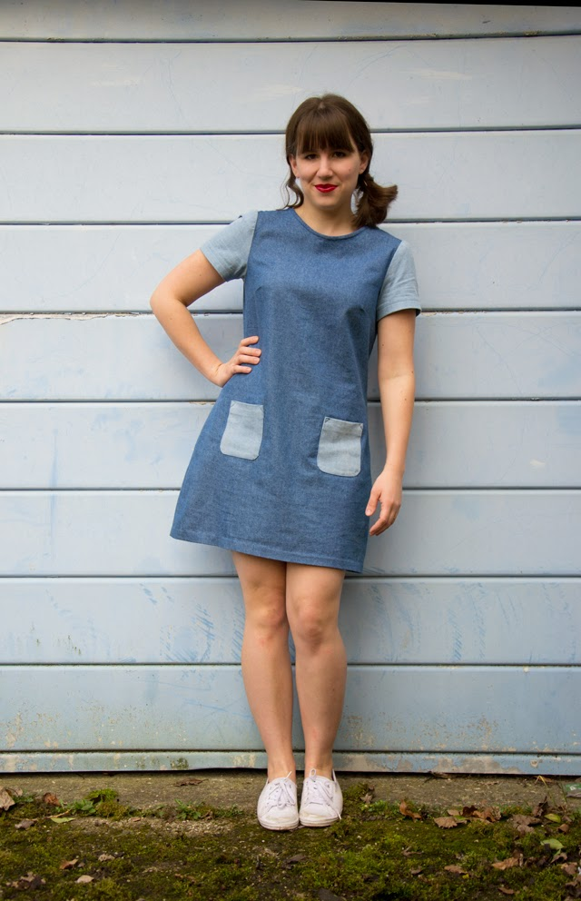 two tone Denim Laurel dress by Collette Patterns
