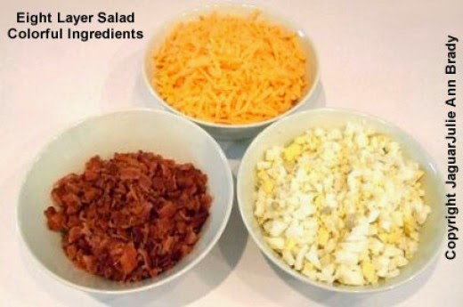 Eight Layer Salad Colorful Ingredients