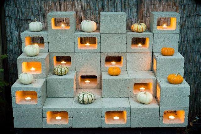 Cinder Blocks Backyard Candle Holder