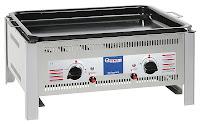Sistem Grill '1020' realizat otel cromat, model pentru masa, cu tava, pe gaz, 2 arzatoare ,include termocuplu,aprindere electrica si tava(suportul optional este exclus),consum de 653 g/h 650x515x(H)300 mm. puterea 9,2 Kw, presiunea 50 mbar