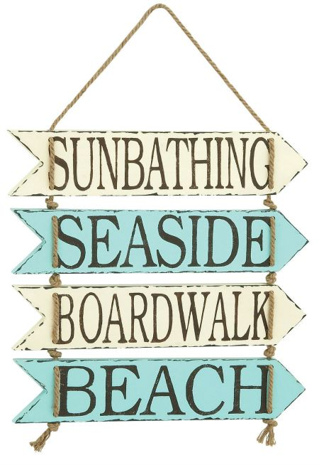 Seaside Wood Beach Sign Blue and White
