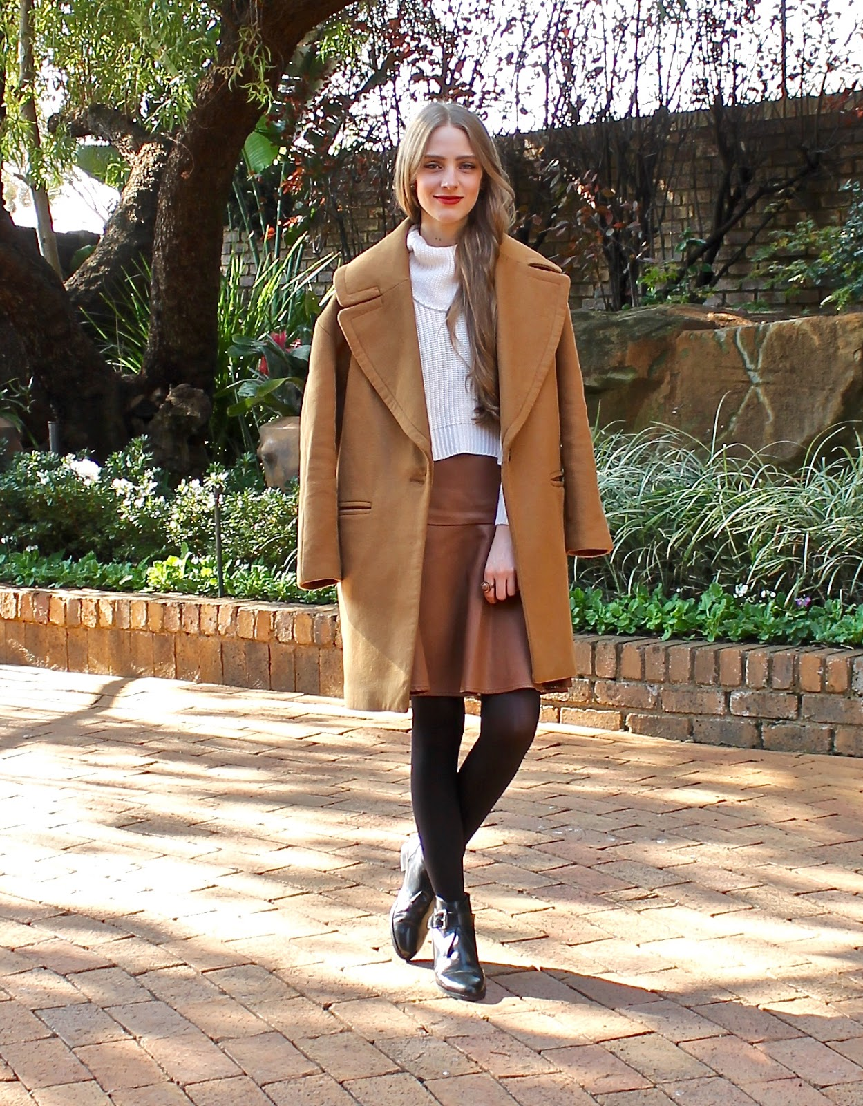 Brown Leather Skirt And Camel Coat