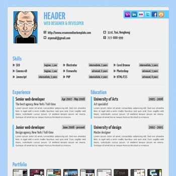 Blue Paper blogger template. portfolio blogspot template. vcard blogger template. blue color background blogger template