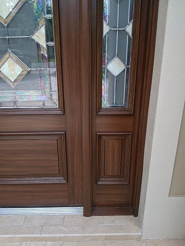 Completed painting front doors to look like wood for Painting garage door to look like wood