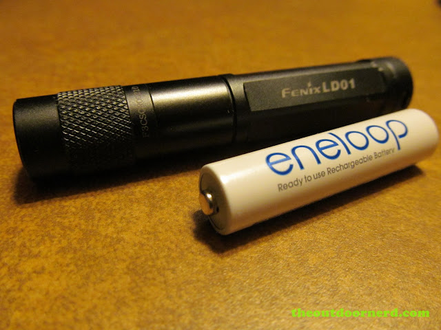 Fenix LD01 AAA Flashlight, shown with 2nd gen. Eneloop AAA