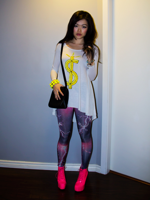 Neon pink lita style shoes, neon spikey bracelet, romwe lighting tights, unif dolla long sleeved tshirt, marc jacobs scarf, outfit, style, vintage dior purse