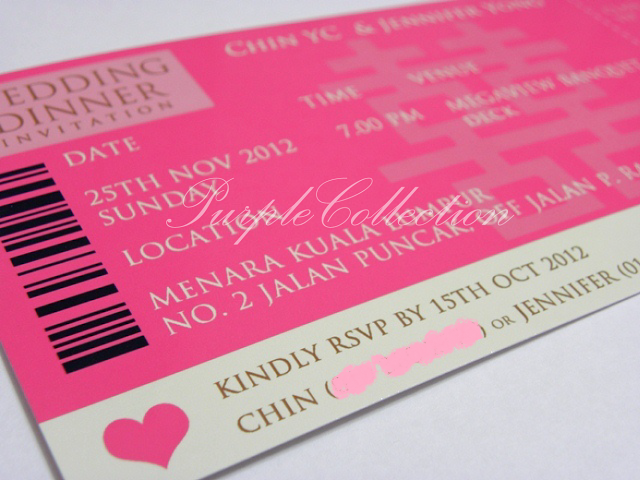 Magenta Boarding Pass Wedding Invitation Card, Chin & Jennifer, Magenta, Boarding Pass, Wedding, Invitation Card, Wedding Invitation Card, Boarding Pass Pockets, Chin, Jennifer, Double Happiness, Ivory Gold Card, Magenta Satin Ribbon, Wedding Dinner