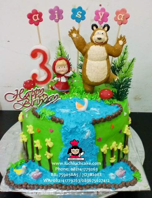 Kue Tart Masha and The Bear Buttercream Daerah Surabaya - Sidoarjo
