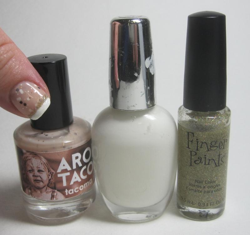 Bottle shot:  Sonoma Nail Art Aroma Tacoma, mixed white polish, and Finger Paints Wild For Art.