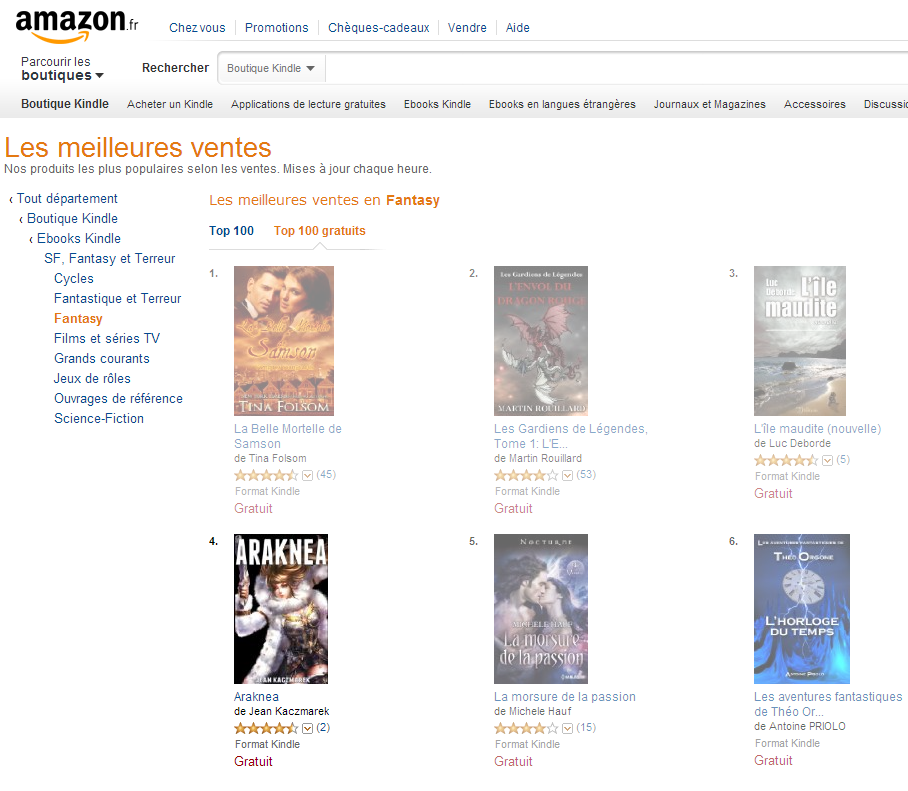 Araknea entre au Top 100 Amazon