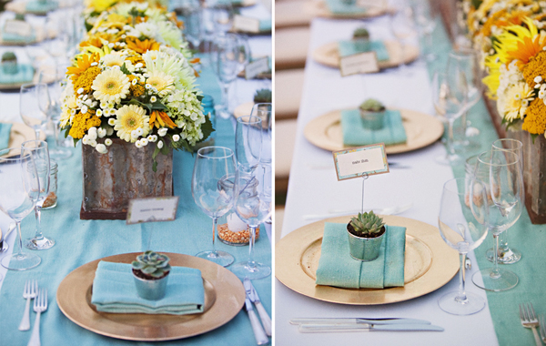 decoracao para casamento em azul e amarelo:Especial: Azul turquesa