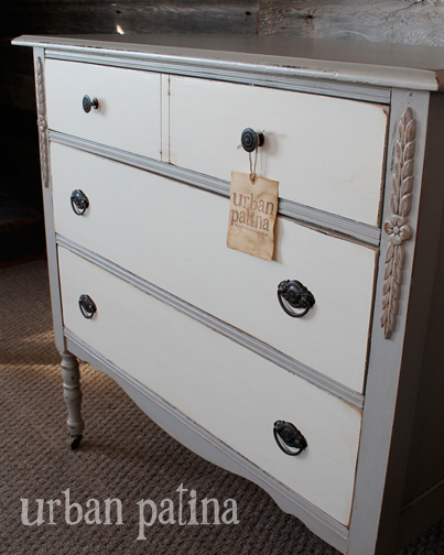 two tone painted furniture. Grey + White Dresser Two Tone Painted Furniture
