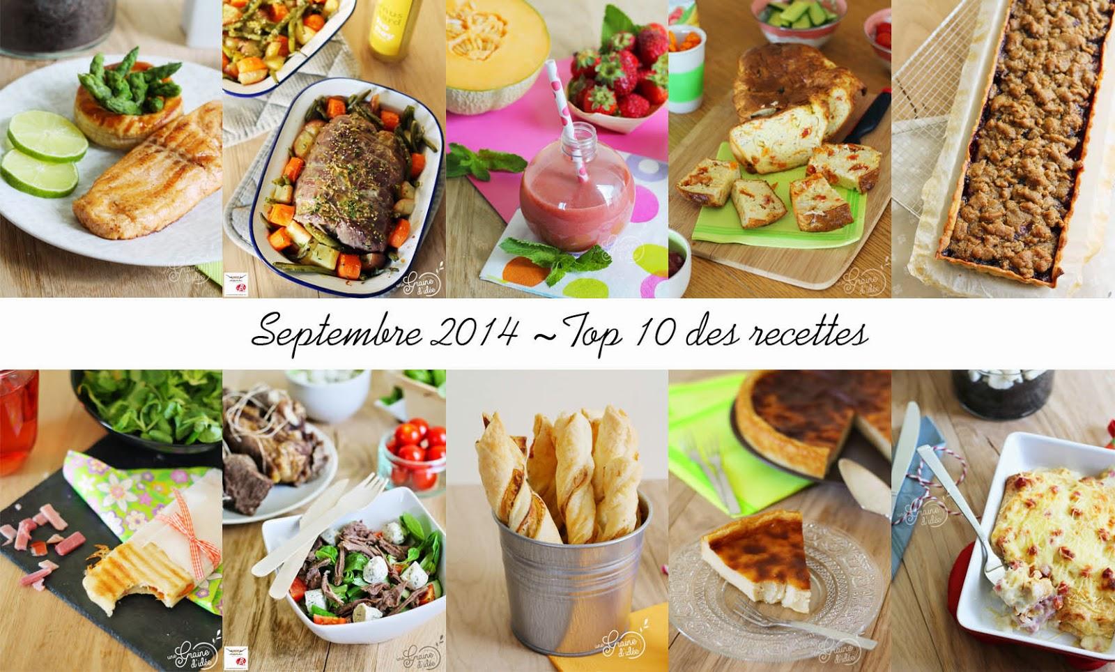 Top 10 des recettes les plus consultées au mois de Septembre 2014