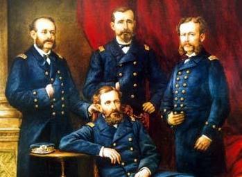 Miguel Grau, Lizardo Montero, Aurelio García y García y Carlos Ferreyros (centro)