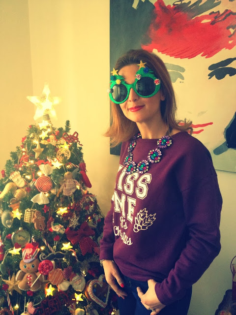 Christmas sweatshirt, Merry Christmas, funny sunglasses, Fashion and Cookies, fashion blogger