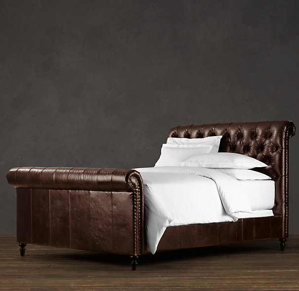 upholstered leather sleigh bed. Http://justatouchofgray.blogspot.com/2011/06/upholstered-headboards.html. THAT Is One Sexy Bed! Chesterfield Leather Sleigh Upholstered Bed