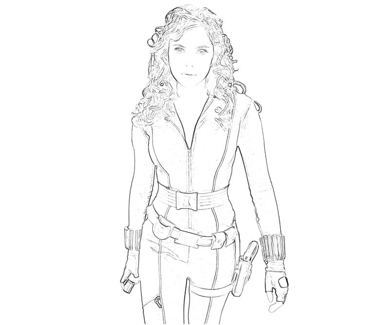 Iron Man 2 Black Widow Character Coloring Pages