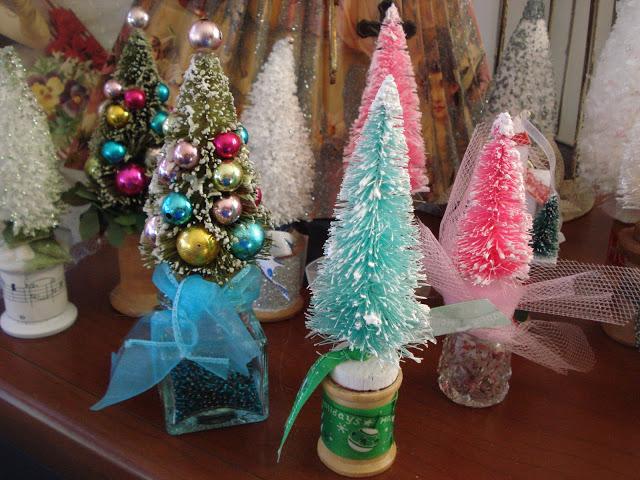 Embelished bottle brush trees Creative Christmas Ideas  Vintage Inspiration Party  KnickofTime.net