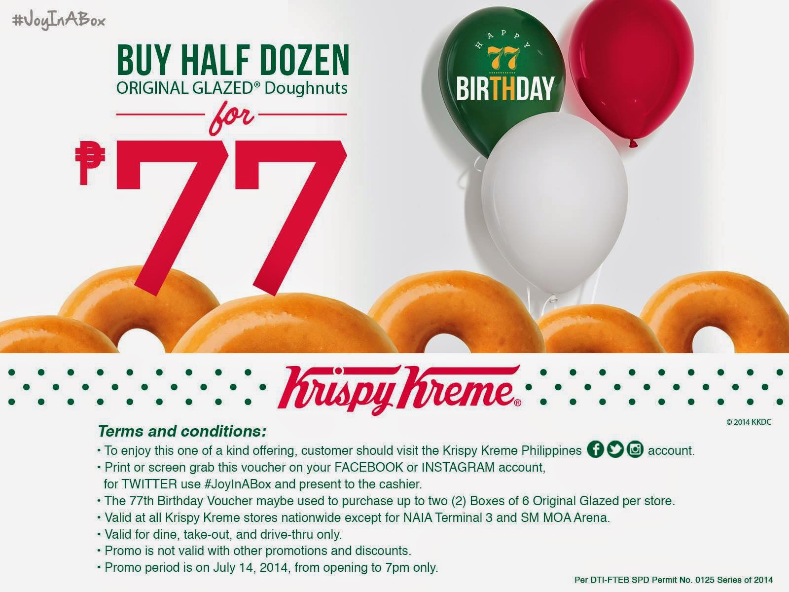 77years, KK, krispy kreme deals