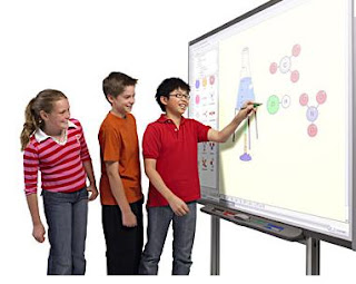 Children creating music on an interactive whiteboard.