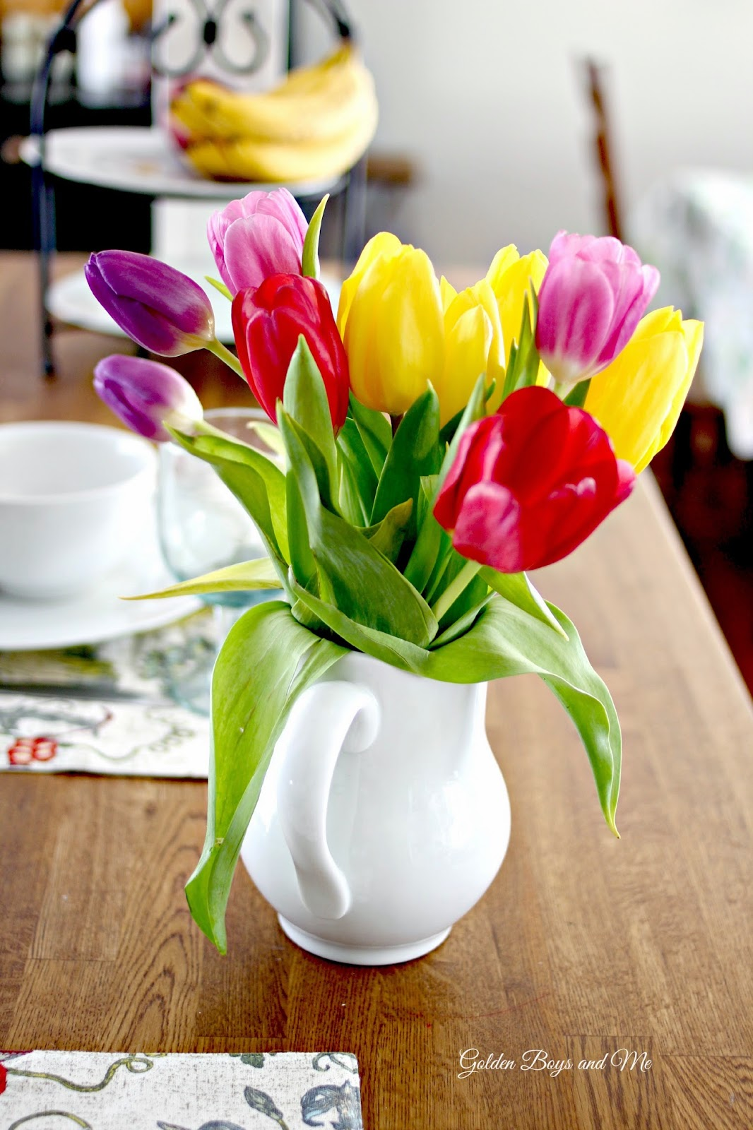multi color tulips in white pitcher-www.goldenboysandme.com