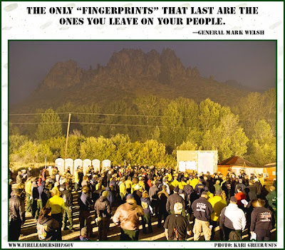 """The only """"fingerprints"""" that last are the ones you leave on your people. - General Mark Welsh"""