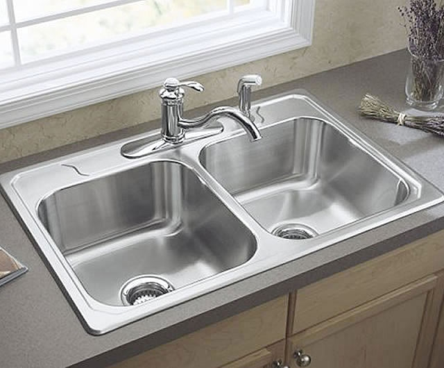 3 little miracles two bowl kitchen sink vs one bowl for Colored stainless steel sinks