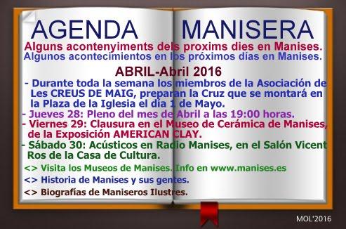 AGENDA MANISERA, SEMANA 17 DE 2016