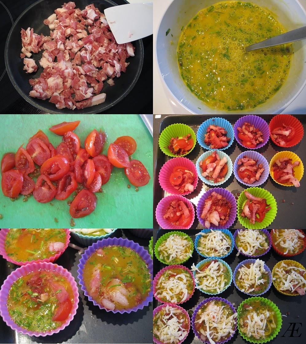 Æggeskåle, æg, baon, tomat, silikoneforme, muffin, ost, brunch, frokost, morgenmad, opskrift