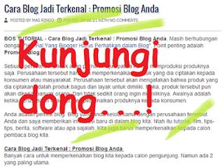 Cara Blog Jadi Terkenal : Promosi Blog Anda
