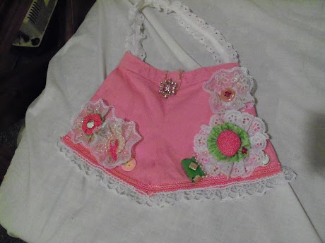 Little girls pink short shabby chic purse