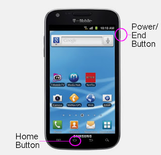 T-Mobile Samsung Galaxy S2 T989 taking screenshot buttons