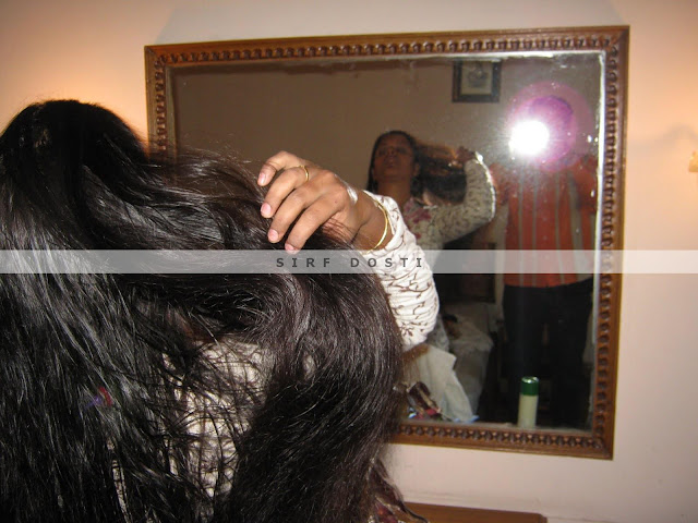 Pampering long hair in home