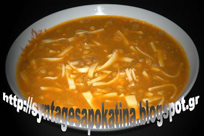 φακές με χυλοπίτες, νόστιμη και θρεπτική, νηστίσιμη συνταγή http://syntagesapokatina.blogspot.gr